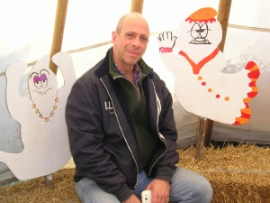 With visiting writer Maury Feinsilber at a pumpkin patch