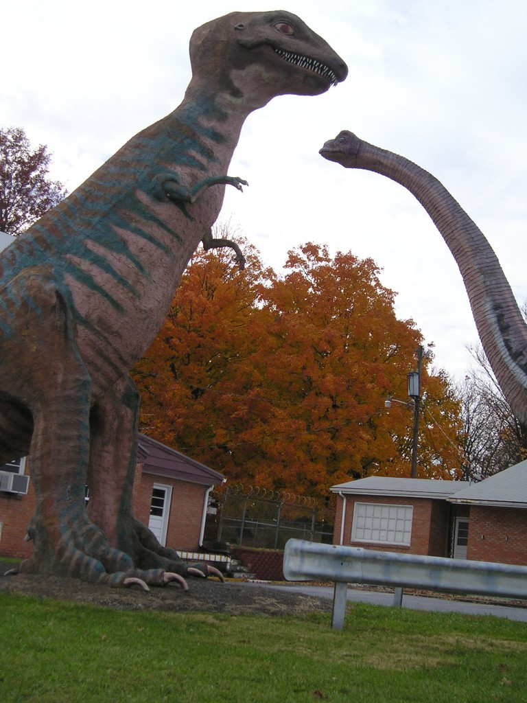 Two of Dinosaur Land's original dinos at the front entrance