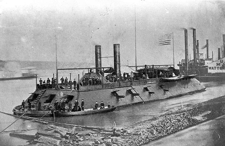 "Famous photo of the USS Cairo, taken before her sinking by submerged ""torpedo"""