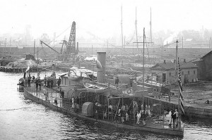 USS Jason, ex-USS Sangamon, being fitted out at the New York Navy Yard, 1898