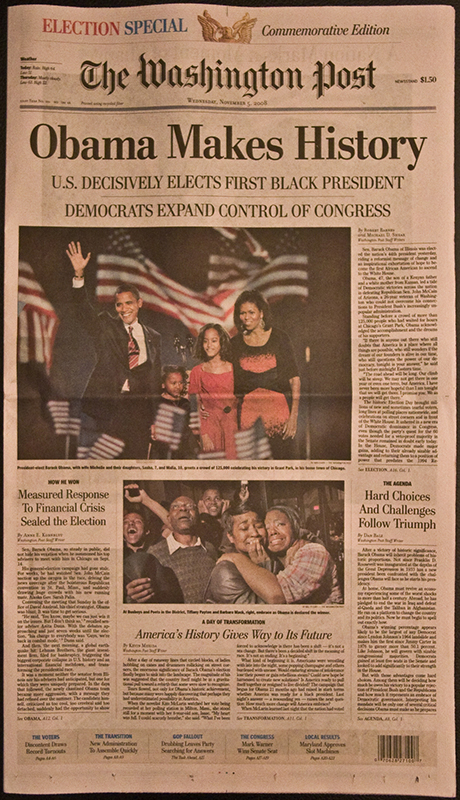 front page of 11/5/2008 Washington Post, laminated, for sale at Rainbow Gifts for $8/copy, now discounted to $5/copy